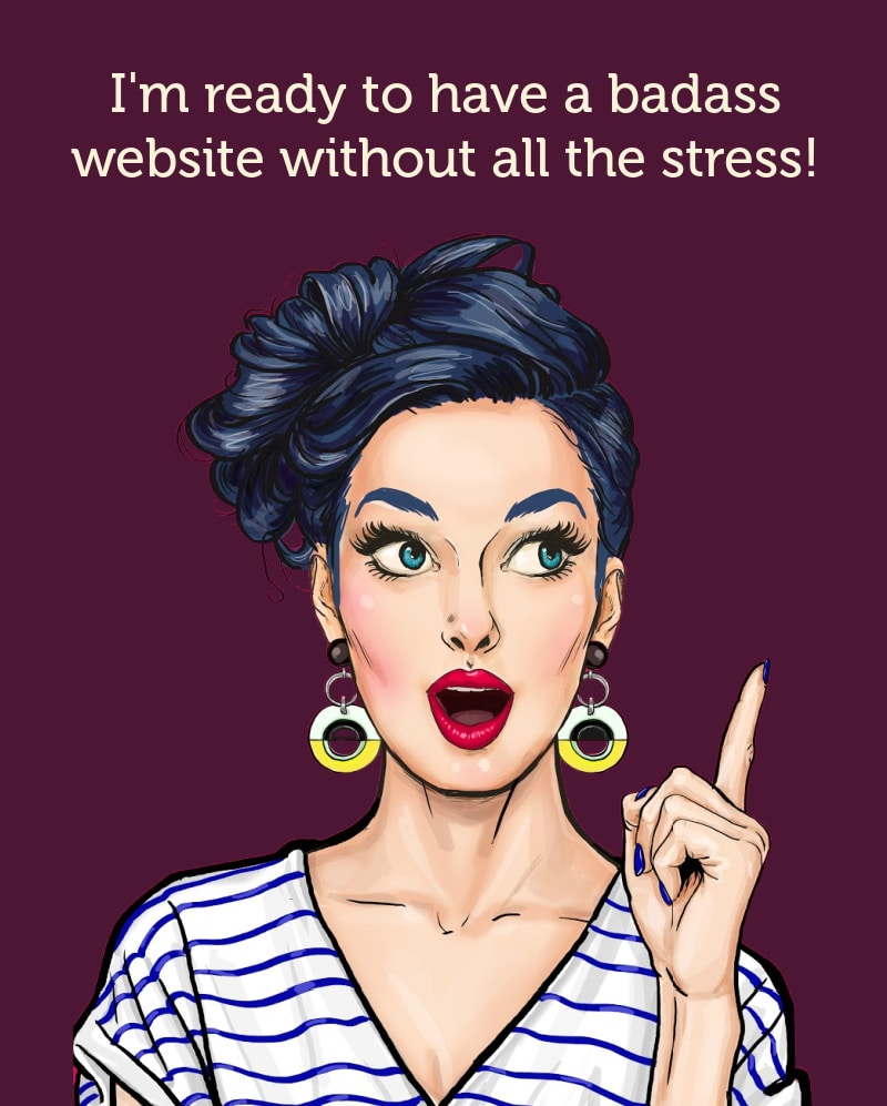illustrated lady pointing to button to schedule a website coffee chat