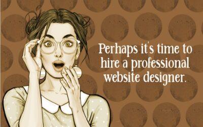 illustrated lady wondering if she should hire a web designer